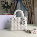 DIOR-0020-7 最新設計LADY四格白色原版羊皮配三個徽章手提單肩包戴妃包