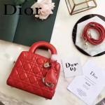 DIOR-0017-4 秋冬專櫃櫥窗款Lilybag紅色原版皮全拉鏈手提單肩包