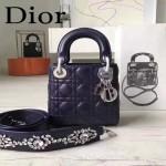 DIOR-0013-5 早春專櫃最新款藍色原版小羊皮小號單肩斜挎包戴妃包