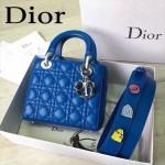 DIOR-0020-10 最新設計LADY四格藍色原版羊皮配三個徽章手提單肩包戴妃包