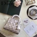 DIOR-0017 秋冬專櫃櫥窗款Lilybag銀色原版皮全拉鏈手提單肩包