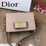 DIOR-0016-5 專櫃海報款復古字母五金粉色原版牛皮單肩斜挎包