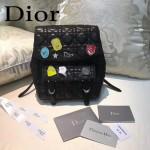 DIOR-0010-2 個性可愛風徽章裝飾黑色原版羊皮小號雙肩包書包