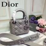DIOR-0014-3 早春專櫃新款lady灰色原版小羊皮手提單肩包戴妃包