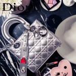 DIOR-0020-6 最新設計LADY四格銀色原版羊皮配三個徽章手提單肩包戴妃包
