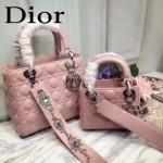 DIOR-0014-4 早春專櫃新款lady粉色原版小羊皮手提單肩包戴妃包