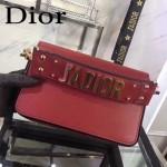 DIOR-009-2 歐美流行新款JADIOR字母金屬紅色原版牛皮手拎包手拿包