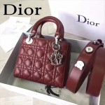DIOR-0020-9 最新設計LADY四格棗紅色原版羊皮配三個徽章手提單肩包戴妃包