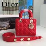 DIOR-0020-2 最新設計LADY四格紅色原版羊皮配三個徽章手提單肩包戴妃包