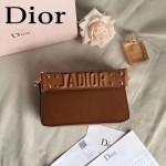 DIOR-009-5 歐美流行新款JADIOR字母金屬土黃色原版牛皮手拎包手拿包