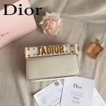 DIOR-009-3 歐美流行新款JADIOR字母金屬白色原版牛皮手拎包手拿包