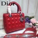 DIOR-0014-2 早春專櫃新款lady紅色原版小羊皮手提單肩包戴妃包