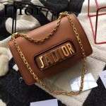 DIOR-008-3 個性百搭限量版J'ADIOR字母金屬土黃色原版牛皮單肩斜挎包