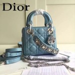 DIOR-0019-2 早春專櫃同步LADY藍色原版羊皮小號手提單肩包戴妃包