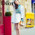 DIOR-0015-3 早春新款單品黃配白拼色原版牛皮手提單肩包晚宴包
