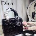 DIOR-0014 早春專櫃新款lady黑色原版小羊皮手提單肩包戴妃包