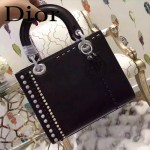 DIOR-0018-2 專櫃限量版LADY手工鑲鑽黑色原版皮手提單肩包戴妃包