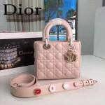 DIOR-0020-3 最新設計LADY四格粉色原版羊皮配三個徽章手提單肩包戴妃包