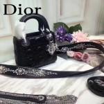 DIOR-0013 早春專櫃最新款黑色原版小羊皮小號單肩斜挎包戴妃包