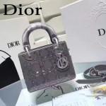 DIOR M44501 高級定制款銀灰色原版布料燙鑽迷你手提單肩包戴妃包