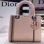 DIOR-0018-3 專櫃限量版LADY手工鑲鑽粉色原版皮手提單肩包戴妃包