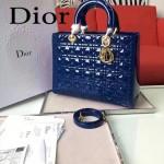 DIOR-007-5 人氣經典款女士七格藍色原版漆皮金扣手提單肩包戴妃包