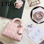 DIOR-0017-2 秋冬專櫃櫥窗款Lilybag粉色原版皮全拉鏈手提單肩包