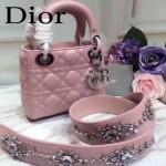 DIOR-0013-4 早春專櫃最新款粉色原版小羊皮小號單肩斜挎包戴妃包