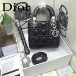 DIOR-0019-3 早春專櫃同步LADY黑色原版羊皮小號手提單肩包戴妃包