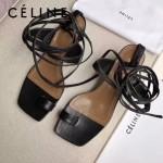 Celine鞋子-001-2 賽琳夏季進口小牛皮黑色綁帶後腳5cm粗跟涼鞋