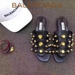 Balenciaga鞋子-002 夏季原版定制金屬大鉚釘四帶黑色休閒拖鞋