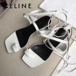Celine鞋子-001 賽琳夏季進口小牛皮白色綁帶後腳5cm粗跟涼鞋