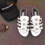 Balenciaga鞋子-002-2 夏季原版定制金屬大鉚釘四帶白色休閒拖鞋