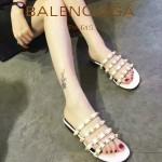 Balenciaga鞋子-001 巴黎世家原版定制金屬鉚釘四帶白色拖鞋