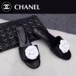 CHANEL鞋子-0010-2 香奈兒時尚進口牛皮山茶花平底拖鞋一字拖