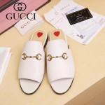 GUCCI鞋子-003-2 專櫃走秀款桃心白色進口小牛皮平底拖鞋