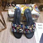 D&G鞋子-002-2 杜嘉班納新品進口牛皮捷克水鑽平底拖鞋