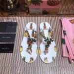 D&G鞋子-001-2 夏季巴洛克風格菠蘿印花夾趾平底拖鞋人字拖