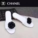 CHANEL鞋子-0010-5 香奈兒時尚進口牛皮山茶花平底拖鞋一字拖