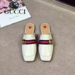GUCCI鞋子-001 古馳專櫃走秀款雙G配織帶進口小牛皮平底拖鞋
