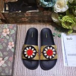 D&G鞋子-003 西西裏風情走秀款拉菲草配天然瑪瑙鑲嵌蜥蜴紋理平底拖鞋