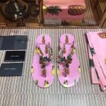 D&G鞋子-001-3 夏季巴洛克風格菠蘿印花夾趾平底拖鞋人字拖