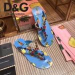 D&G鞋子-001-4 夏季巴洛克風格菠蘿印花夾趾平底拖鞋人字拖