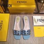 FENDI鞋子-001-3 芬迪時尚新品玻璃鉚釘裝飾進口牛皮低跟拖鞋