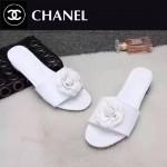 CHANEL鞋子-0010-4 香奈兒時尚進口牛皮山茶花平底拖鞋一字拖