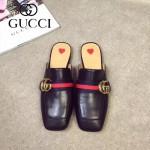 GUCCI鞋子-001-2 古馳專櫃走秀款雙G配織帶進口小牛皮平底拖鞋