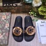 D&G鞋子-003-2 西西裏風情走秀款拉菲草配天然瑪瑙鑲嵌蜥蜴紋理平底拖鞋