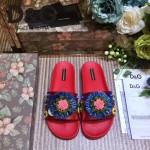 D&G鞋子-003-3 西西裏風情走秀款拉菲草配天然瑪瑙鑲嵌蜥蜴紋理平底拖鞋