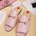 GUCCI鞋子-003-3 專櫃走秀款桃心粉色進口小牛皮平底拖鞋