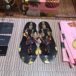 D&G鞋子-001 夏季巴洛克風格菠蘿印花夾趾平底拖鞋人字拖